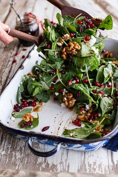 Winter Salad with Maple Candied Walnuts + Balsamic Fig Dressing | halfbakedharvest.com