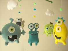 Baby+crib+mobile+Monster+mobile+Alien+mobile+felt+by+Feltnjoy,+$85.00