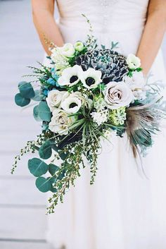 green cascading bridal bouquets 1