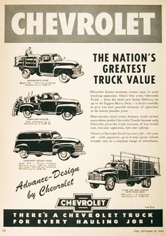 1949 Chevrolet Trucks vintage ad. The nation's greatest truck value. Features the Medium-Duty Stake, Light Duty Pickup, Light Duty Deluxe Panel Van, and 3-Ton Cab with Stake body.