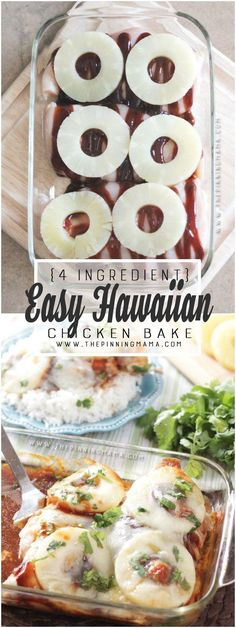 This is CRAZY delicious! And so easy and healthy for dinner! Hawaiian Chicken Bake recipe. Sweet & tangy BBQ sauce, pineapple, and cheese all baked over chicken. YUM!