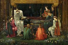 The Last Sleep of Arthur - painting by Edward Burne Jones   King Arthur lay dying at Avalon