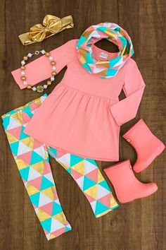 Fall & Back to School Outfits - Fall & Back to School Outfits Turquoise & Coral Triangle 3 Pc. Baby Outfits, Little Girl Outfits, Little Girl Fashion, Toddler Girl Outfits, Toddler Fashion, Kids Outfits, Kids Fashion, Cute Outfits, Toddler Girls