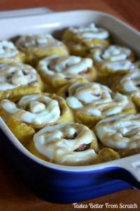 Pumpkin Cinnamon Rolls with Cream Cheese and Caramel Frosting