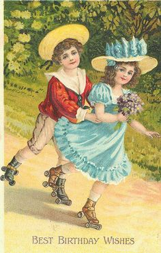 Victorian girl and boy rollerskating