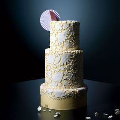 Yellow Wedding Cake With Lace Design Cakes | Brides.com