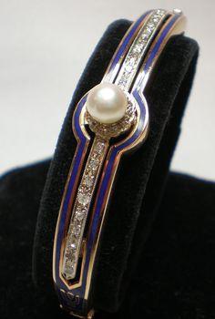 Vintage Bracelet; 14K Gold, Diamonds , Pearl & Enamel, American, C. 1920
