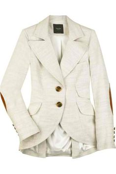 Smythe Linen Silk Equestrian Jacket in Wheat with Contrast Elbow Patches Moda Xl, Linen Blazer, Look Chic, Swagg, Fashion Outfits, Womens Fashion, Passion For Fashion, Autumn Winter Fashion, Blazers