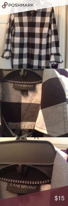 Boyfriend shirt Plaid black and white boyfriend shoe very comfortable and long. Lane Bryant Tops Button Down Shirts