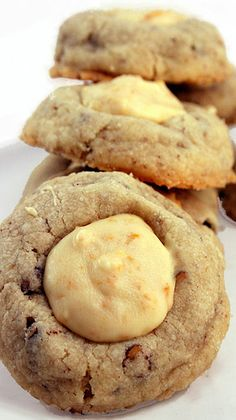 Butter Pecan Thumbprint Cookies with White Chocolate
