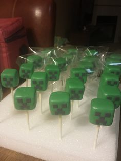 Creeper cake pops from a Minecraft Birthday Party!  See more party ideas at CatchMyParty.com!