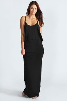 Polly Strappy Frill Top Maxi Dress at boohoo.com