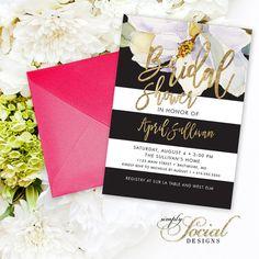 Magnolia Bridal Shower Invitation - Faux Gold Foil White Flowers and Black Stripes Watercolor Floral Bridal Shower Invitation Printable