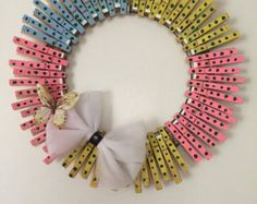 Flower inspired clothespin wreath by BeadDropperJewelry on Etsy
