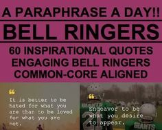 Bell ringers 240 daily warm ups with answer slides common core bell ringer a paraphrase a day 60 inspirational quotes fandeluxe Images