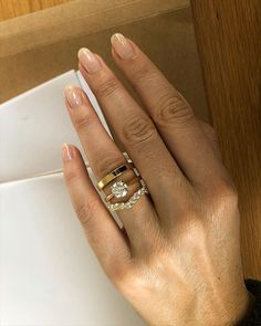 Loving this Bridal Set! Solitaire four claw Indus Setting in yellow gold with claw set wishbone diamond band and flat yellow gold band. Diamond Bands, Gold Bands, Naveya And Sloane, The Ind, Three Rings, Fine Jewelry, Jewellery, Womens Wedding Bands, Bridal Sets