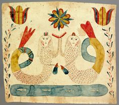 "Realized Price: $19890 Southeastern Pennsylvania watercolor fraktur, early 19th c., depicting 2 mermaids above a pond with fish, flanked by tulip vines, 7 1/4"" x 8 1/4""."