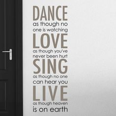 Home Decor Line Dance Love Sing Live Wall Decal (519.335 IDR) ❤ liked on Polyvore featuring home, home decor, wall art, vinyl decal sticker, vertical wall art, vinyl wall stickers, vinyl wall decals and vinyl decals