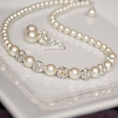 Pearl Rhinestone Bridal Necklace Ivory Pearl by somethingjeweled, $72.00