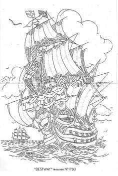 Galleon 1793 | by bcampbell_to Coloring Book Art, Animal Coloring Pages, Colouring Pages, Adult Coloring Pages, Up Book, Hand Art, Tile Art, Pyrography, Line Drawing
