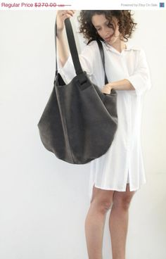 Dark Grey Leather Tote Bag- Soft Leather Bag - Big Gray Nubuck Leather Bag - Shoulder Bag - Over Size Bag - Carolina Bag on Etsy, R$536,84