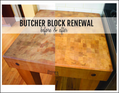 How to refinish a butcher block or cutting board - and maintain it for years. #DIY