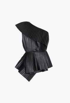 A dramatic tulle cape or off-the-shoulder top can really make an outfit—just add jeans and go. Shop the 19 best, including this Balmain One-Shoulder Pleated Leather Top. (Off The Shoulder Top Jeans) Balmain Pants, Balmain Top, Black One Shoulder Top, Off One Shoulder Tops, Diy Fashion Projects, Orange Pants, Petite Pants, Wide Leg Pants, Blouse Designs