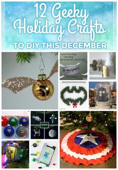 12 geeky crafts to DIY this Christmas! Harry Potter ornaments, Captain America tree skirts, Zelda and Doctor Who gifts - a nerdy gift for everyone!!