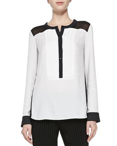 Women's Designer Tops at Neiman Marcus Nanette Lepore, Black Tie, Stylish Outfits, Blouse, Model, Mesh, Fashion Trends, Shirts, Sewing