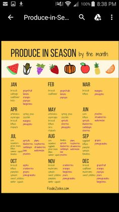 Produce in Season by the Month Exactly a year ago today, I published a Meal Planner template and since we are at the end of the year I really wanted to make another resource for you guys. I put together a list of produce in season by the month and you can Cooking Tips, Cooking Recipes, Healthy Recipes, Food Tips, Cooking Food, Budget Recipes, Cooking Classes, College Food Recipes, Heart Healthy Foods