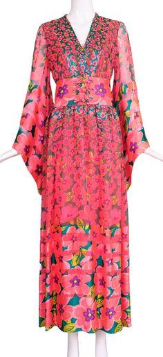 1970s Oscar de la Renta Floral Silk Evening Gown 2