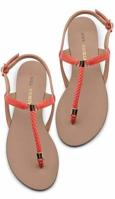 Hot Coral  T-Strap Sandals ♥