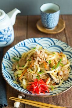 Yaki Udon 焼きうどん - Japanese udon noodles stir fried with vegetables and your choice of protein, Yaki Udon is definitely a keeper when comes to easy weeknight dinner! It's a great meal to use up your leftover too. #udonnoodlerecipe #udonnoodlestirfry #japanesefood #asianrecipes #easydinner #noodlerecipes #stirfryrecipes #leftover | Easy Japanese Recipes at JustOneCookbook.com