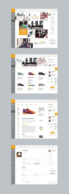 Smashing web design for your inspiration: interesting left navigation Nike by Kenil Bhavsar Layout Design, Interaktives Design, Web Ui Design, Best Web Design, Web Layout, Ecommerce Web Design, Intranet Design, Navigation Design, Dashboard Design
