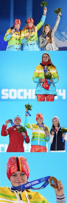 Sochi 2014 Day 6 / Medal Ceremony / (L-R) Silver medalist Tatjana Huefner of Germany, gold medalist Natalie Geisenberger of Germany and bronze medalist Erin Hamlin of the United States celebrate on the podium during the medal ceremony for Women's Luge Singles, (L-R) Silver medalist Daniela Iraschko-Stolz of Austria, gold medalist Carina Vogt of Germany and bronze medalist Coline Mattel of France celebrate on the podium during the medal ceremony for Ladies' Normal Hill Individual