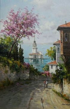 The very best billiard room in Istanbul, Watercolor Landscape, Landscape Paintings, Watercolor Paintings, Landscape Art, Pictures To Paint, Art Pictures, Images D'art, Turkish Art, Painting Inspiration