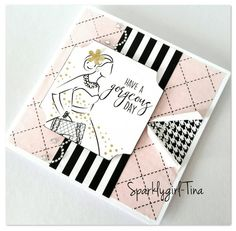 Created by Tina Boyden for Craftwork Cards using the Fabulous Fashionita collection Craftwork Cards, Appreciation Cards, Glam Girl, Card Kit, Funny Cards, Craft Work, Pink Stripes, Paper Dolls, Cardmaking