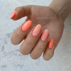 Маникюр | Ногти Orange Nail Art, Orange Nails, Pink Nails, Love Nails, My Nails, Colored Acrylic Nails, Classic Nails, Nail Art Galleries, Nail Tutorials