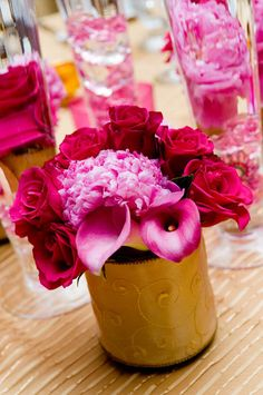 peonies roses calla lilies in bold pink