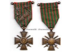 FRANCE WW1 Military Medal War Cross Croix Guerre 1914 1917 with palms 3 stars 4 citations Decoration French 1918 WWi Merit French Award