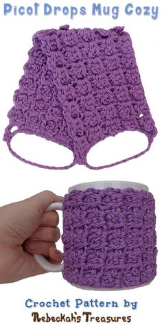 Lavender Picot Drops Mug Cozy | Free Crochet Pattern by @beckastreasures | Holiday Stashdown CAL 2016 with @ucrafter | #HolidayStashdownCAL2016 #crochet #mugcozy | Join today!