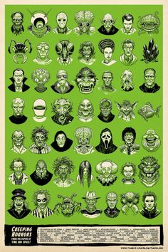 Creeping Horror From the Depths of Time and Space! Retro Horror, Horror Icons, Vintage Horror, Weird Vintage, Funny Horror, Horror Comics, Vintage Type, Horror Movie Tattoos, Horror Movie Characters
