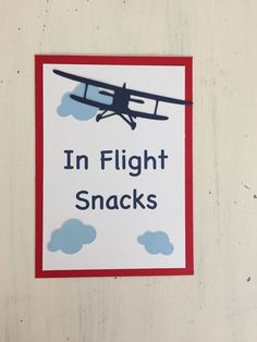 In Flight Snacks Sign, Vintage Airplane Party Decorations, Vintage Airplane Party Theme Vintage Airplane Party, Vintage Airplanes, Airport Theme, Bon Voyage Party, Aviation Theme, Planes Birthday, Airplane Baby Shower, Super Party, Baby Shower Signs