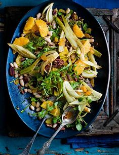 Orange, pecan and cannellini salad with sautéed fennel and golden raisons Persian cooking guru Sabrina Ghayour knows how to throw a party. Pair this gluten free, low calorie zingy salad with some of her other easy recipes (such as her lamb kofta puffs with tahini and tomato sauce or spiced cod frittas with harissa honey dip) to create an impressive sharing spread
