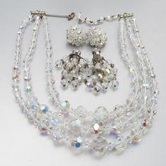 Vintage Bridal Wedding Cocktail Aurora Borealis Clear Glass Paste Rhinestones Triple Row Bracelet 7 12inch long Birthday Gift for Her