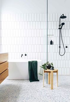 Smart, functional and stylish, this renovated bathroom with terrazzo floor tiles has it all! Photography: Lauren Bamford Styling: Kati Bottomley and Esme Parker Story: Inside Out bathroomdecorideas Bathroom Styling, Bathroom Interior Design, Bathroom Storage, Bathroom Organization, Scandinavian Bathroom Design Ideas, Interior Modern, Kitchen Interior, Kitchen Design, Terrazzo Flooring