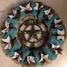 Western Burlap Wreath Natural Brown White by SignsBYDebbieHess, $69.00