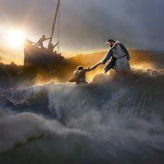 Peter Walks On Water, Walk On Water, Jesus Art, God Jesus, Pictures Of Jesus Christ, Religious Pictures, Bible Pictures, God Pictures, Religious Art
