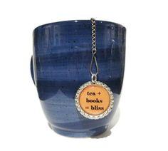 """Tea Infuser - Bottle Cap Charm - tea plus books - 2"""" Mesh Ball - Tea Ball - Tea Strainer by TillaHomestead on Etsy https://www.etsy.com/listing/87934422/tea-infuser-bottle-cap-charm-tea-plus"""