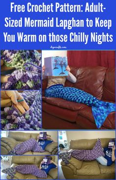 Free Crochet Pattern: Adult-Sized Mermaid Lapghan to Keep You Warm on those Chilly Nights. Free Crochet Pattern: Adult-Sized Mermaid Lapghan to Keep You Warm on those Chilly Nights Crochet Mermaid Blanket, Crochet Mermaid Tail, Mermaid Tails, Crochet Blanket Patterns, Mermaid Blankets, Mermaid Afghan, Crochet Afghans, Crochet Blankets, Crochet Home